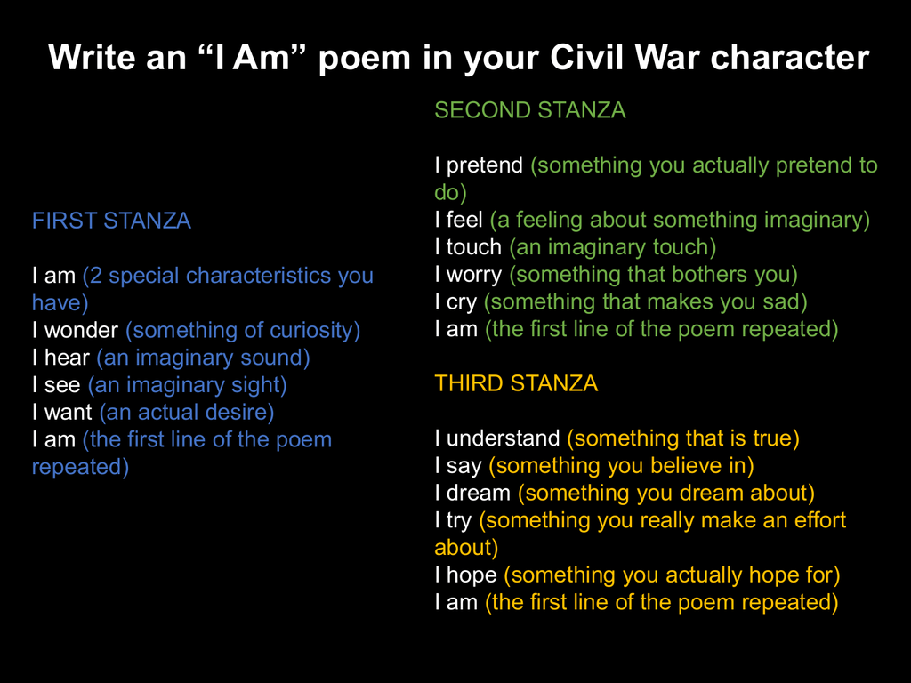 I Am Poem in Civil War character
