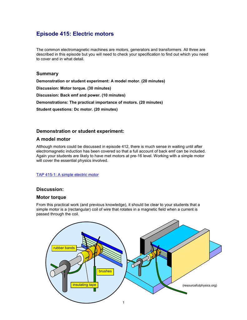 Episode 415 Electric Motors Word 179 Kb Simple Generator Diagram