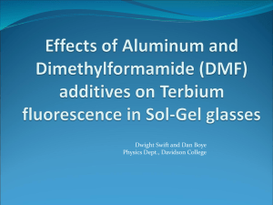 Effects of Aluminum and N,N-dimethylformamide additives on Tb 3+ fluorescence in Sol-Gel glasses