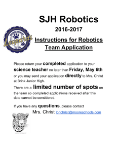 SJH Robotics 2016-2017 Instructions for Robotics Team Application