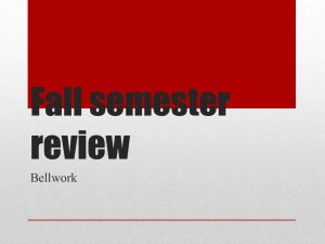 Fall Semester Review Bellwork