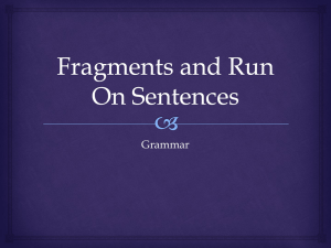 Fragments and Run Ons Instruction