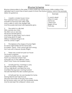 Rhyme Scheme Worksheet