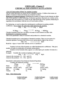 CHEM 1405 Chapter 9 Chemical Equations Calculations.doc
