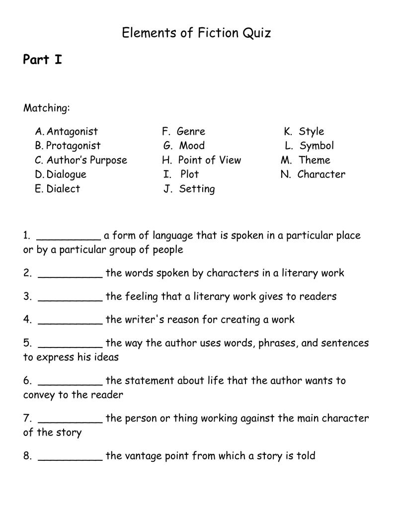 Worksheets Elements Of Fiction Worksheet elements of fiction quiz doc