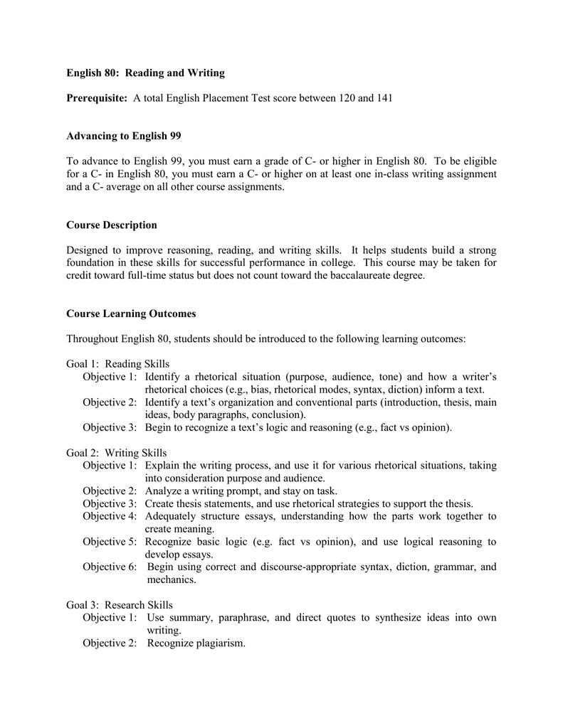 Advanced english course syllabus.