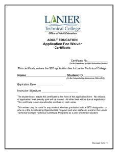 Application Fee Waiver  ADULT EDUCATION Certificate