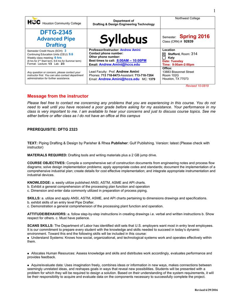 Dftg 2345 Pipe Drafting Syllabus 1 Doc