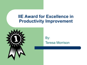 IIE Award for Excellence in Productivity Improvement