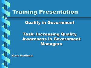 Quality In Gov Training Slides
