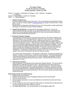 El Camino College Faculty Development Committee Meeting Summary –October 10, 2006