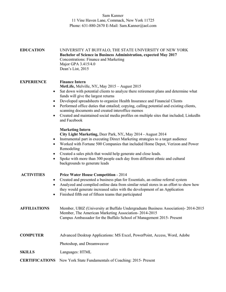 My resume direct mail buffalo resume with coursework