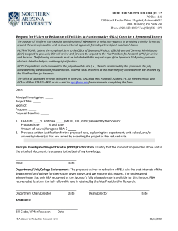 Facilities And Administrative Reduction Or Waiver Request Form