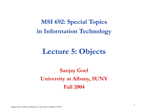 Lecture 5: Objects MSI 692: Special Topics in Information Technology Sanjay Goel
