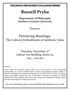 Russell Pryba Perceiving Meanings: The Cultural Embodiment of Aesthetic Value Presents: