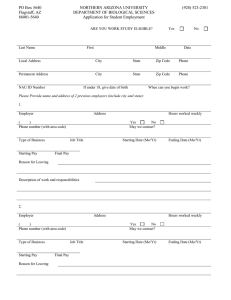 Biological Sciences student employee application