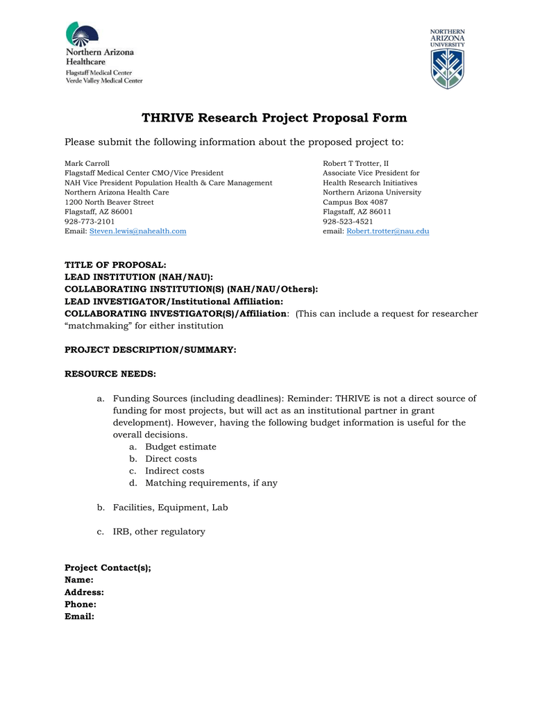 THRIVE Research Project Proposal Form