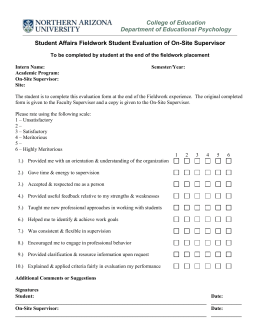 Student Affairs Fieldwork Student Evaluation of Site Form
