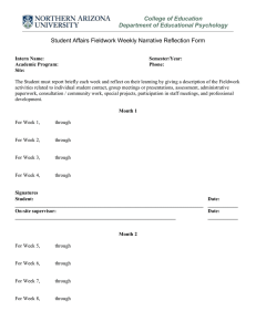Student Affairs Fieldwork Weekly Narrative Reflection Form