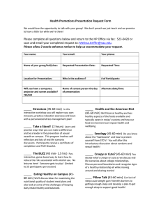 Health Promotions Presentation Request Form