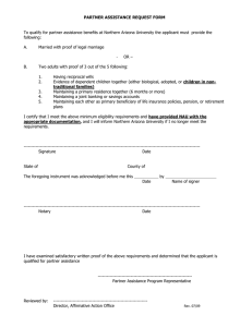 PARTNER ASSISTANCE REQUEST FORM