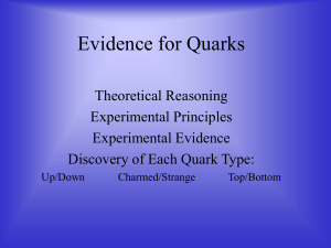 Evidence for Quarks Theoretical Reasoning Experimental Principles Experimental Evidence