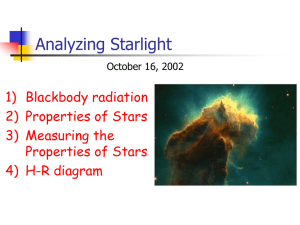 Analyzing Starlight 1) Blackbody radiation 2) Properties of Stars 3) Measuring the
