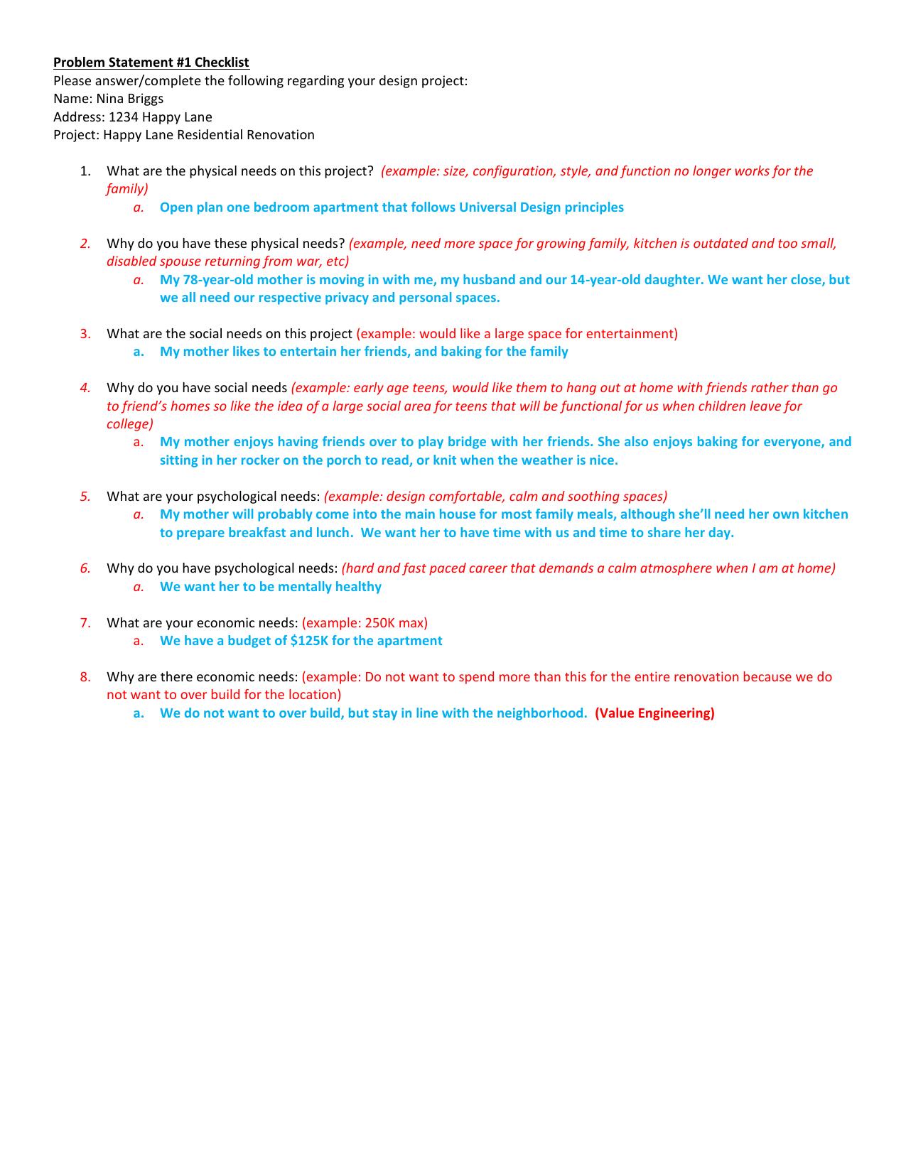 Problem Statement 1 Checklist Name Nina Briggs Address 1234 Happy
