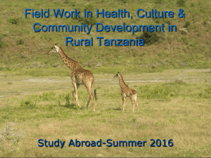 presentation on Faculty-led Study Abroad to Tanzania-Summer 2016