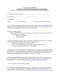 Essential Studies Oral Communication Validation Form