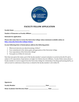 FACULTY FELLOW APPLICATION