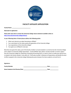 FACULTY AFFILIATE APPLICATION