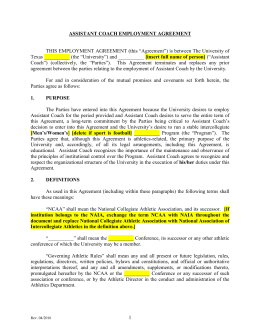 SSC Athletics - Assistant Coach Employment Agreement (Long Form)
