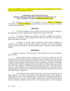 SSC Faculty - Agreement for Participation in Medical Service, Research, and Development Plan (MSRDP)