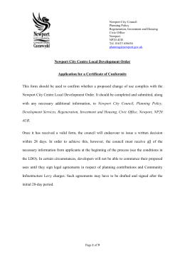 Local Development Order - Application for Certificate of Conformity (FINAL DRAFT - August 2015) EDITABLE FORM