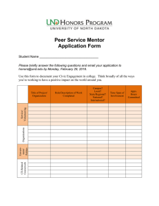 Peer Service Mentor Application Form