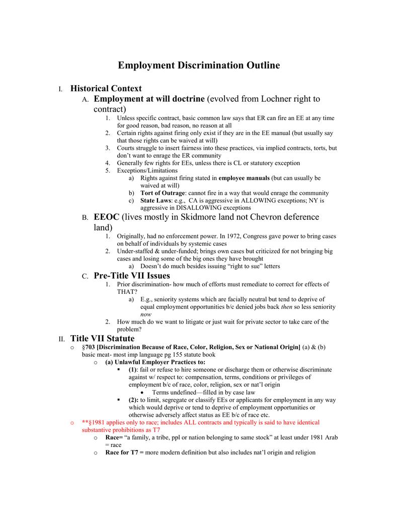 employment discrimination outline