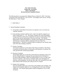 Internal Standing Committee Bylaw Amendments