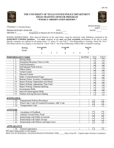 DP-58 Field Training Weekly Observation Report
