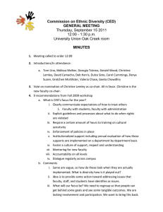 Commission on Ethnic Diversity (CED) GENERAL MEETING MINUTES Thursday, September 15 2011