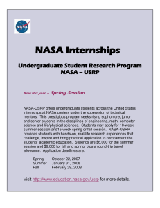 NASA Internships Undergraduate Student Research Program NASA -- USRP