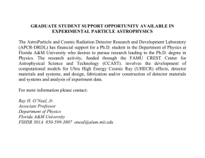 GRADUATE STUDENT SUPPORT OPPORTUNITY AVAILABLE IN EXPERIMENTAL PARTICLE ASTROPHYSICS