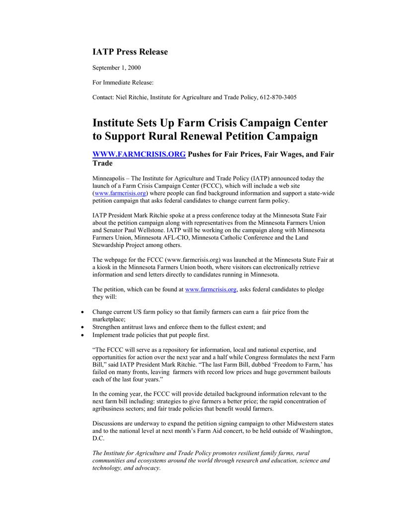 IATP Press Release
