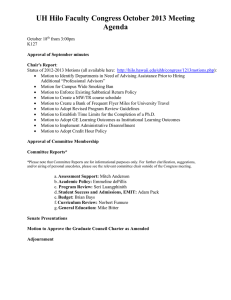 UH Hilo Faculty Congress October 2013 Meeting Agenda