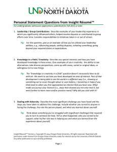 Personal Statement Questions from Insight Résumé (Word Document)