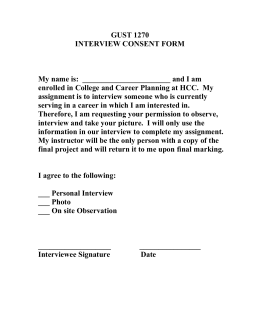 GUST 1270 INTERVIEW CONSENT FORM