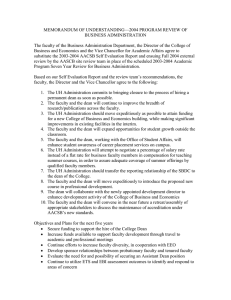 MEMORANDUM OF UNDERSTANDING—2004 PROGRAM REVIEW OF BUSINESS ADMINISTRATION