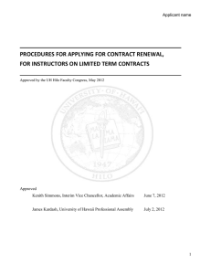 Contract Renewal Procedures for Instructors on Limited Term Contracts (July 2012)