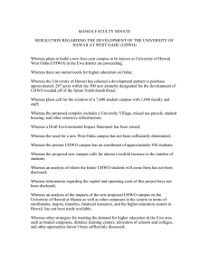 Manoa Faculty Senate Resolution Regarding the Development of UHWO