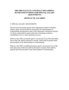 2001-2003 FACULTY CONTRACT REGARDING MANDATED FUNDING FOR SPECIAL SALARY ADJUSTMENTS ARTICLE XX, SALARIES